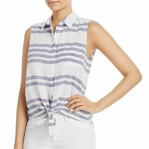 Beach Lunch Lounge Blue Linen Striped Tank Top